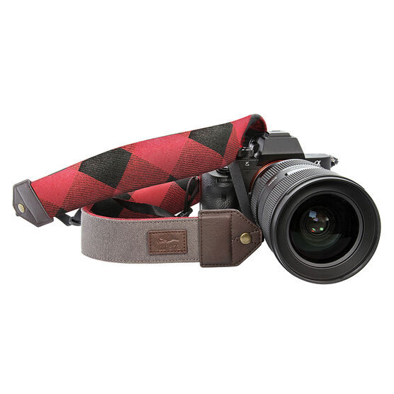 Roots 73 Flannel Collection DSLR Camera Strap - Grey/Red Flannel - RGSTRAP