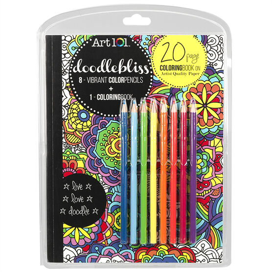 Art 101 Doodlebliss Colouring Book with Colour Pencils