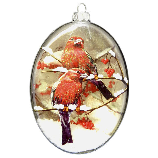 Wild Berries Cardinals on Branch Ornament - Red - 4in