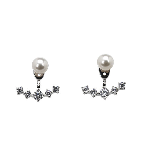 Eliot Danori Nova Pearl Earrings - Rhodium