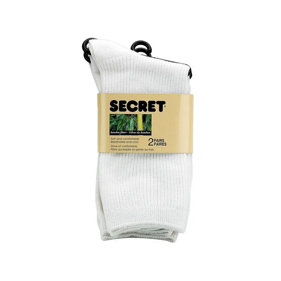 Secret Nature Bamboo Crew Cut Socks - White - 2 pair