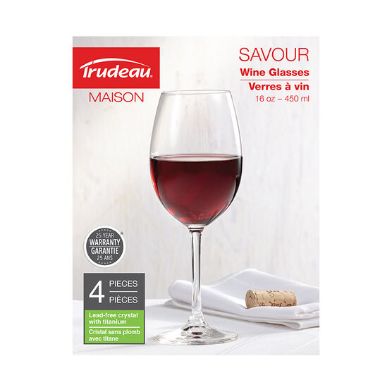 Trudeau Savour Red Wineglass - 16oz/4 pack