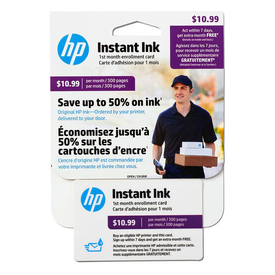 HP Instant Ink Enrollment Card - 300 Pages Monthly - J3N18AC