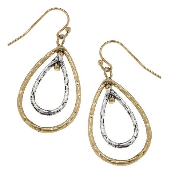 Canvas Geometric Teardrop Earrings - Gold/Silver