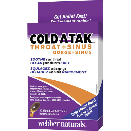 Webber Cold-A-Tak Throat & Sinus Softgels - 30's