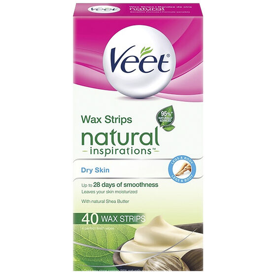 Veet Natural Inspiration Legs & Body Wax Strips - Dry Skin - 40's