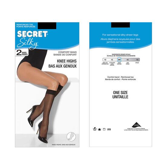 Secret Silky Knee High's - Black - 2 pair