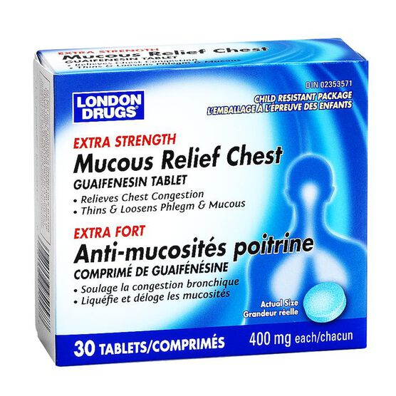 London Drugs Mucous Relief Chest - Extra Strength - 400mg / 30's