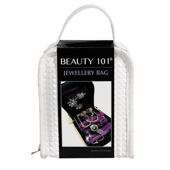 Beauty 101 Jewelry Travel Bag - White