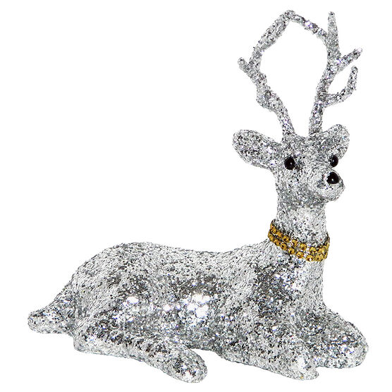 Christmas Deer with Glitter Sitting - Silver - 8in