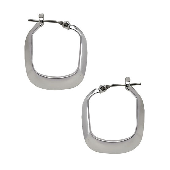 Kenneth Cole Small Rectangle Shiny Hoop Earrings - Silver Tone