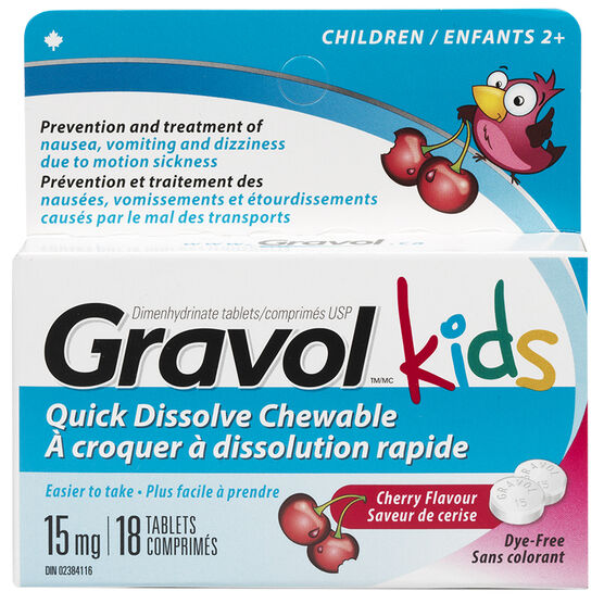 Gravol Kids Quick Dissolve Chewable Dye-Free - Cherry - 18's