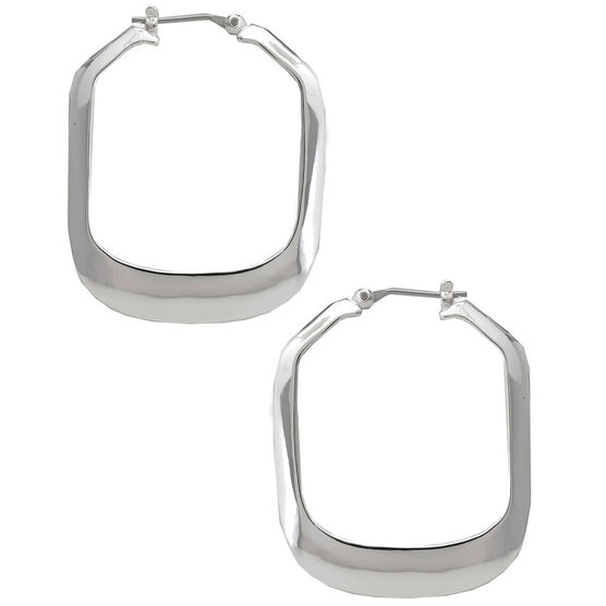 Kenneth Cole Large Rectangle Shiny Hoop Earrings - Silver Tone