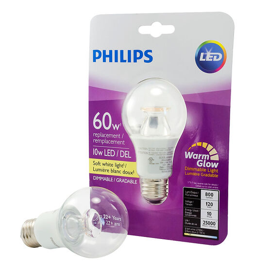 Philips A19 LED Replacement Bulb - Clear/Warm - 60W