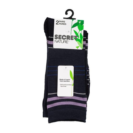 Secret Nature Crew Sock - Navy - 2 pair