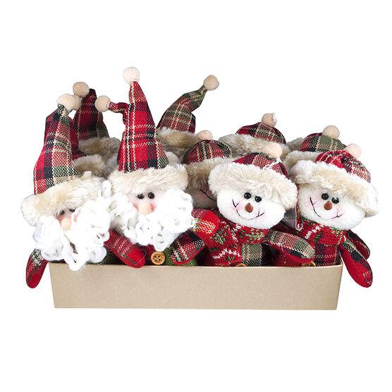 Christmas Santa/Snowman Ornament - 6in - Assorted
