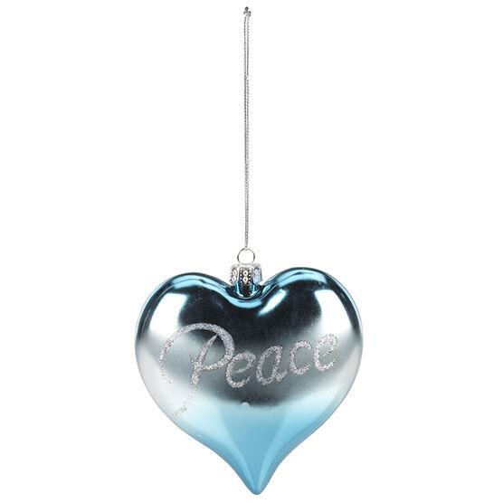 Polar Ice Plastic Heart Ornament - Peace - 93mm