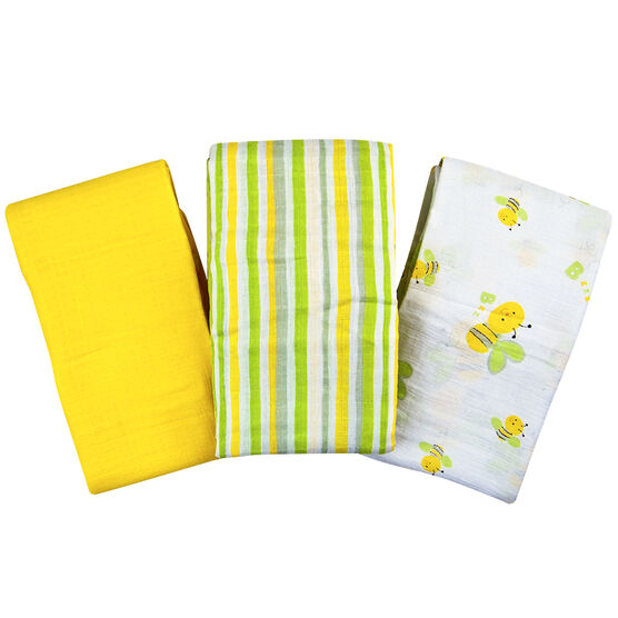 Summer Infant Muslin Blanket - Busy Bee/Stripe/Sage - 3 pack