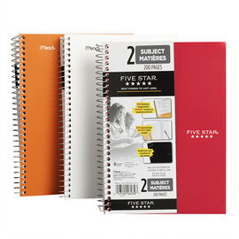 Mead Five Star Two Subject Notebook - 9.5 x 6 inch - 200 page - Assorted Colours