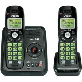 VTech 2-Handset Cordless Phone with Answering Machine - Black - CS612421
