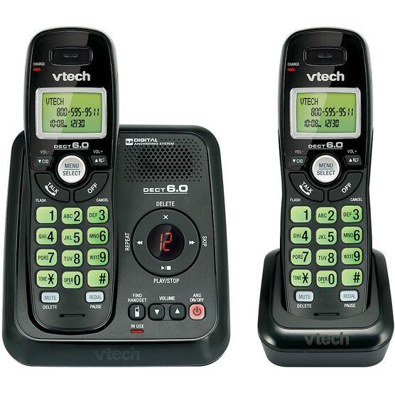 VTech 2-Handset Cordless Phone with Answering Machine - Black - CS612421