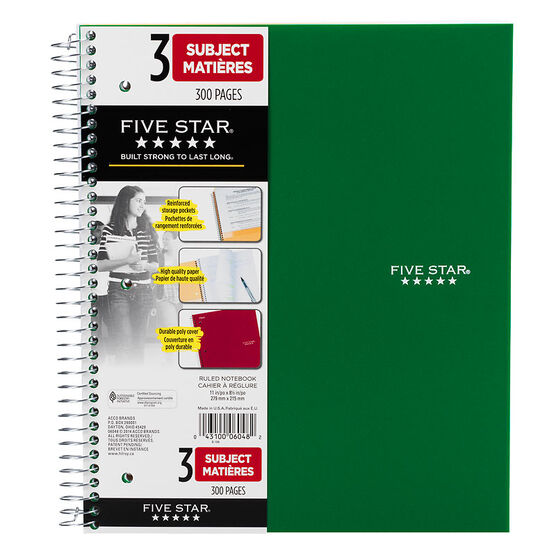 Mead Five Star Three Subject Notebook - Assorted - 11 x 8.5 inch - 300 pages