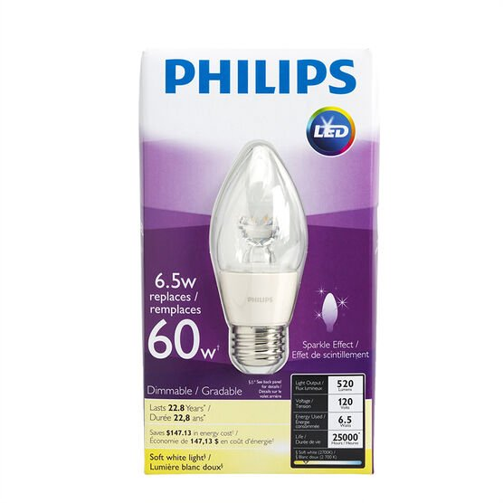 Philips Chandelier LED Flame Dimmable Bulb - Medium Base - Soft White - 6.5w/2700k