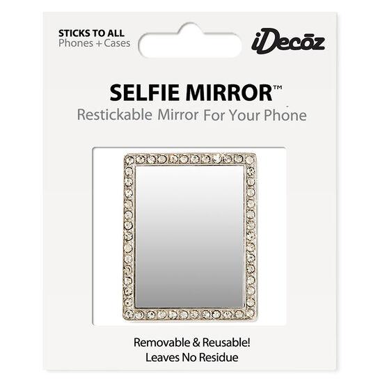 iDecoz Cubic Zirconia Rectangle Selfie Mirror - Silver