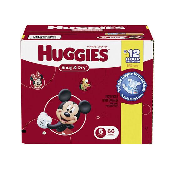 Huggies Snug & Dry Diapers - Size 6 - 66's