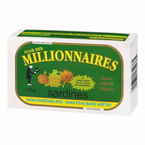 Club Des Millionaires Skinless Boneless Sardines in Sunflower Oil - 124g