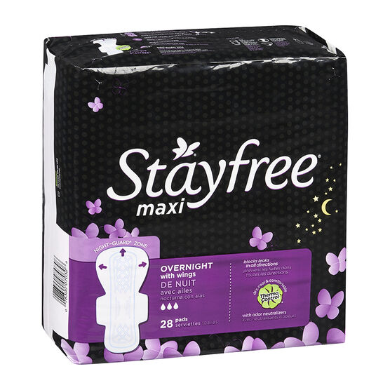 Stayfree Maxi - Overnight with Wings - 28's