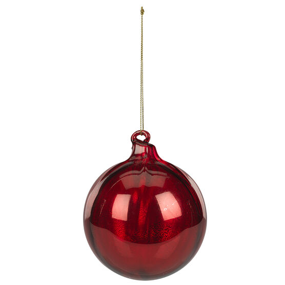 Christmas Tartan Glass Ball Ornament - 90mm