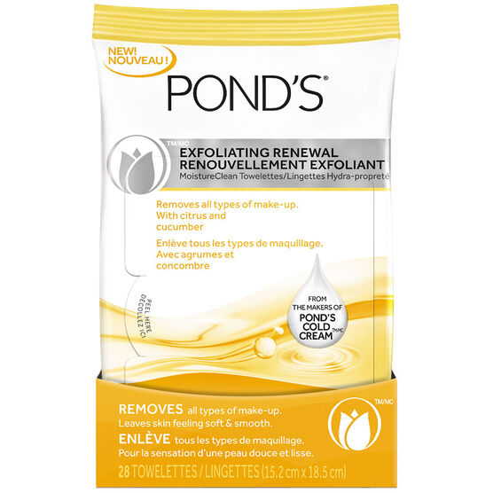 Ponds MoistureClean Towelettes - Exfoliating Renewal - 28's