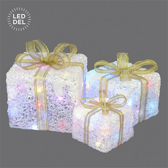 Danson Outdoor Lighted Gift Box - Multi - Set of 3