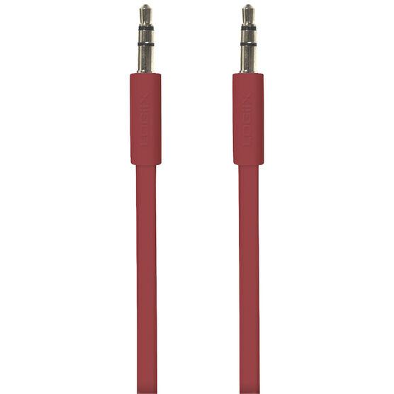 Logiix Flat Flex 3.5mm Auxiliary Cable - 1.5 m -  Red - LGX10566