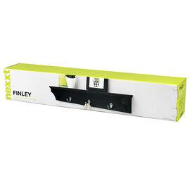 Kiera Grace Finley Wall Shelf with Hooks - Black - 24in