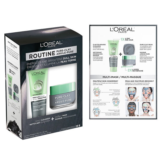 L'Oreal Routine Pure-Clay - Energizes & Brightens Dull Skin - 2 piece