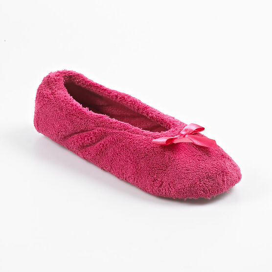Isotoner Ballerina Bow Slipper - Very Berry - Large