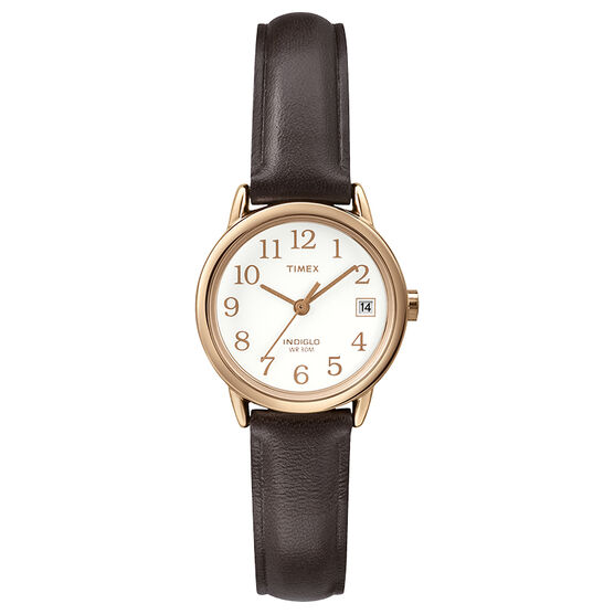 Timex Easy Reader Mid Size Watch - Brown/Rose Gold - T2P564GP