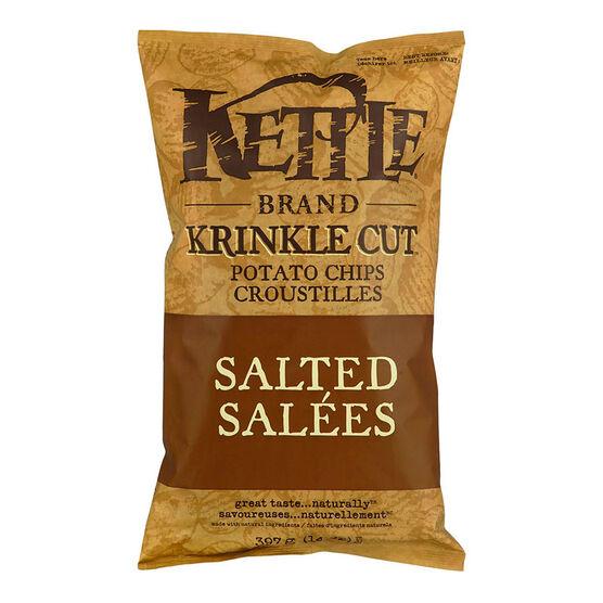 Kettle Brand Potato Chips - Krinkle Cut - Salted - 397g