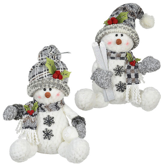 Winter Wishes Sitting Snowman - 12in - Assorted