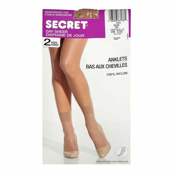 Secret Day Sheer Anklets - Nude - 2 pair