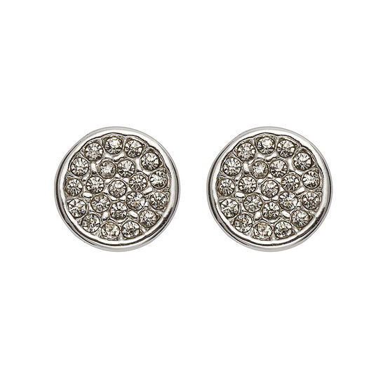 Anne Klein Pave Button Stud Earrings - Silver