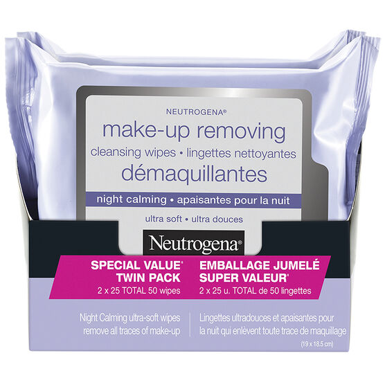 Neutrogena All-In-One Make-Up Removing Cleansing Wipes - Night Calming - 2 x 25's