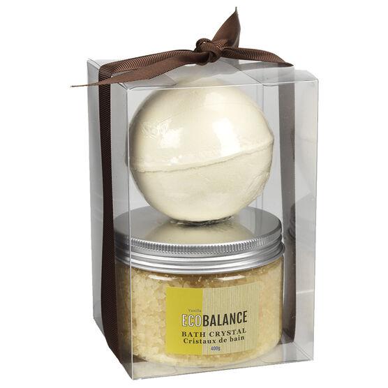 ECOBALANCE Fizz Bomb & Bath Crystal Set - Vanilla - 2 piece