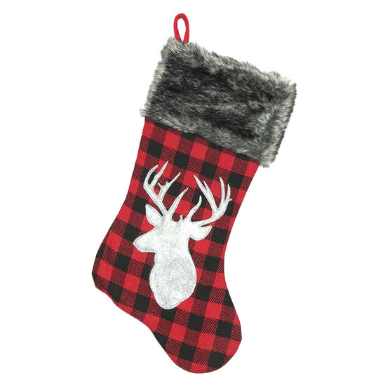 Christmas Forever Plaid Stocking with Reindeer - 20.5in - Red/Grey - XM-US2734