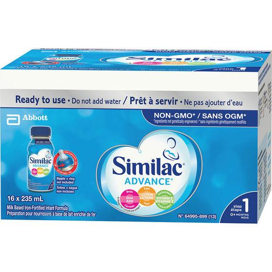 Similac Advance Step 1 Infant Formula - Ready To Feed - 16 x 235 ml
