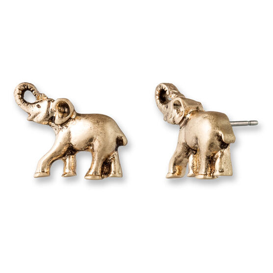 Lonna & Lilly Elephant Button Earrings - Gold Tone