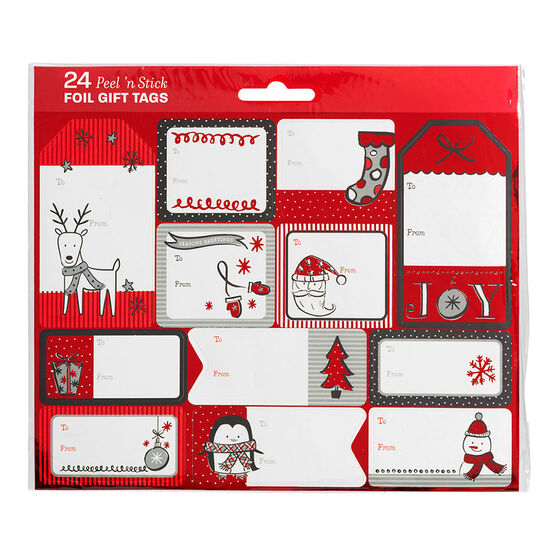 Christmas Peel N Stick Gift Tags - Assorted - 24's