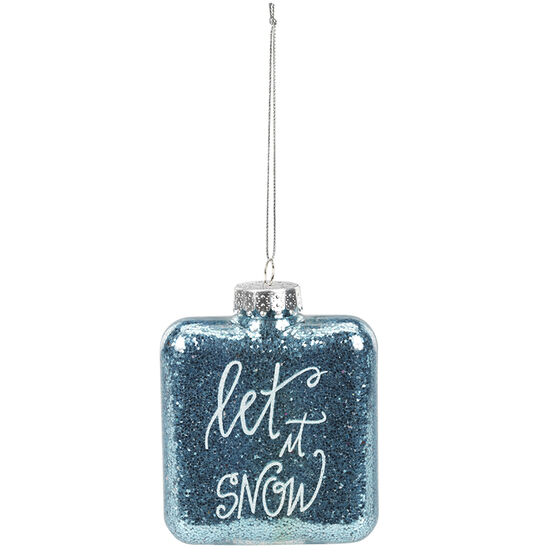 Polar Ice Square Bottle Ornament - Snow - 85mm
